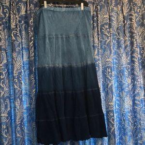 Long Gradient Blue Skirt